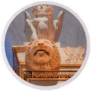Round Beach Towel featuring the photograph Athens, Greece - Sphinx And Scupper by Mark Forte