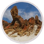 Round Beach Towel featuring the photograph Sphinx Of South Australia by Stephen Mitchell
