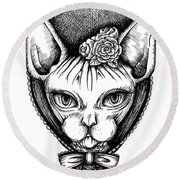 Sphynx Lady Round Beach Towel