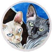 Sphynx Love - Cat Painting Round Beach Towel