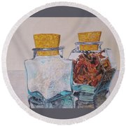 Spice Jars Round Beach Towel by Hilda and Jose Garrancho
