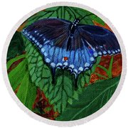 Spicebush Swallowtail Round Beach Towel