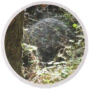 Round Beach Towel featuring the photograph Spider Dome by Marie Neder