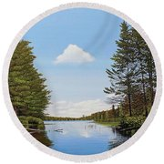Round Beach Towel featuring the painting Spider Lake Pond by Kenneth M Kirsch