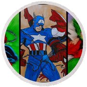 Round Beach Towel featuring the drawing Spider-man Collage  by Justin Moore