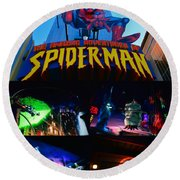 Spider Man Ride Poster A Round Beach Towel