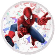 Round Beach Towel featuring the mixed media Spider Man Splash Super Hero Series by Movie Poster Prints