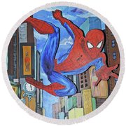 Spiderman Swings Round Beach Towel