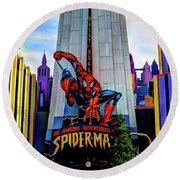 Round Beach Towel featuring the photograph Spiderman by Tom Prendergast