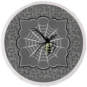 Spiders And Webs, Gray And Black Round Beach Towel