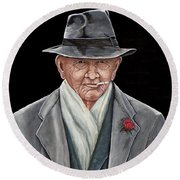 Spiffy Old Man Round Beach Towel by Judy Kirouac