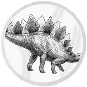 Spike The Stegosaurus - Black And White Dinosaur Drawing Round Beach Towel