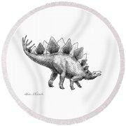 Stegosaurus - Dinosaur Decor - Black And White Dino Drawing Round Beach Towel