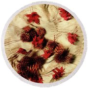 Spiked Nuts Red Round Beach Towel