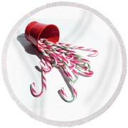 Spilled Candy Canes Round Beach Towel