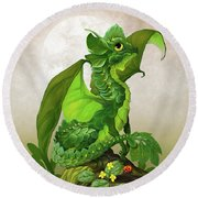 Spinach Dragon Round Beach Towel by Stanley Morrison