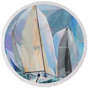 Spinnakers, Sails, Dreams Round Beach Towel