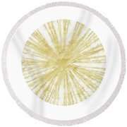 Spinning Gold Ball Art By Linda Woods Round Beach Towel