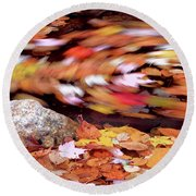 Spinning Leaves Of Autumn Round Beach Towel
