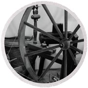 Round Beach Towel featuring the photograph Spinning Wheel At Mount Vernon by Nicole Lloyd