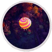 Spiral Colored Hot Air Balloon Over Fall Tree Tops Mchenry   Round Beach Towel