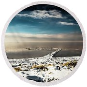Round Beach Towel featuring the photograph Spiral Jetty In Winter by Bryan Carter