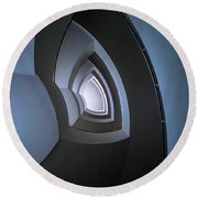 Spiral Modern Staircase In Blue Tones Round Beach Towel by Jaroslaw Blaminsky