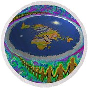Spiral Of Souls Flat Earth Round Beach Towel