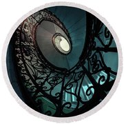 Round Beach Towel featuring the photograph Spiral Ornamented Staircase In Blue And Green Tones by Jaroslaw Blaminsky