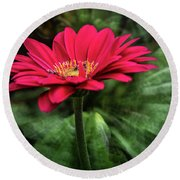 Spiral Pink Flower Focus Round Beach Towel