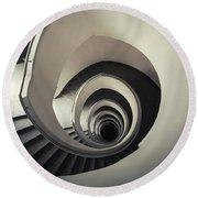 Spiral Staircase In Beige Tones Round Beach Towel by Jaroslaw Blaminsky