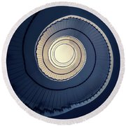 Round Beach Towel featuring the photograph Spiral Staircase In Blue And Cream Tones by Jaroslaw Blaminsky