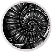 Spiral Staircase Paris France Round Beach Towel