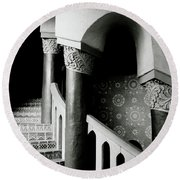 Spiral Stairs- Black And White Photo By Linda Woods Round Beach Towel by Linda Woods