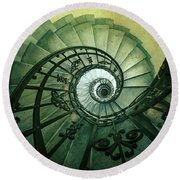 Round Beach Towel featuring the photograph Spiral Stairs In Green Tones by Jaroslaw Blaminsky