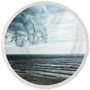 Spiraling Storm Clouds Over Daytona Beach, Florida Round Beach Towel