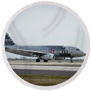 Round Beach Towel featuring the photograph Spirit Airlines A319 Airbus N523nk Airplane Art by Reid Callaway