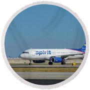 Round Beach Towel featuring the photograph Spirit Airlines Airbus A320 N608nk Airplane Art by Reid Callaway