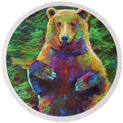 Round Beach Towel featuring the painting Spirit Bear by Robert Phelps