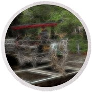Spirit Carriage 2 Round Beach Towel by William Horden