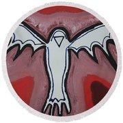 Spirit Crow Original Painting Round Beach Towel by Sol Luckman
