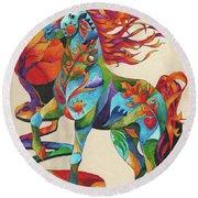 Spirit Horse Totem Round Beach Towel