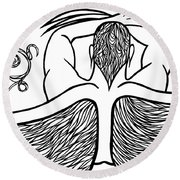 Round Beach Towel featuring the drawing Spirit by Jamie Lynn