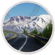 Spirit Lake Highway To Mt. St. Helens Round Beach Towel