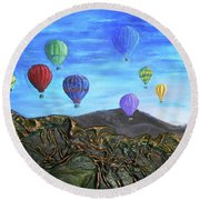Round Beach Towel featuring the mixed media Spirit Of Boise by Angela Stout