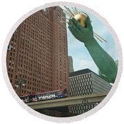 Spirit Of Detroit And People Mover Round Beach Towel