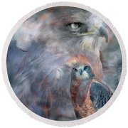 Spirit Of The Hawk Round Beach Towel