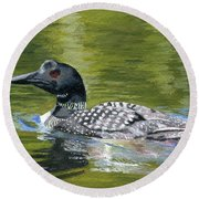Round Beach Towel featuring the painting Spirit Of The North by Lynne Reichhart