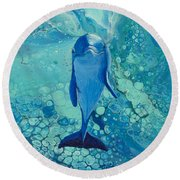 Round Beach Towel featuring the painting Spirit Of The Ocean On Black by Darice Machel McGuire