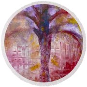 Round Beach Towel featuring the painting Spirit Tree by Claire Bull